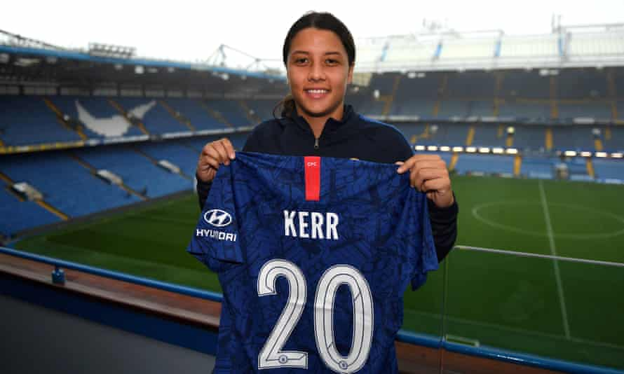 Sam Kerr at Stamford Bridge after signing for Chelsea.