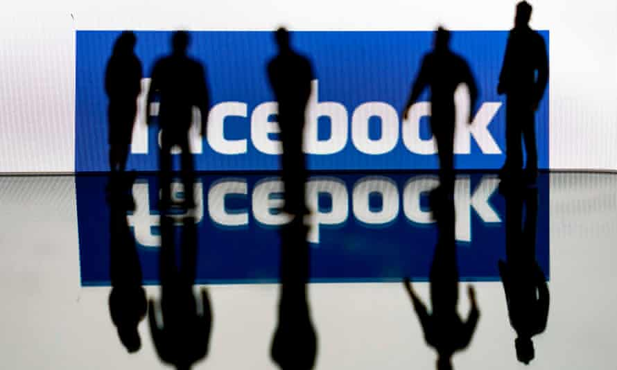 facebook logo with shadowy figures