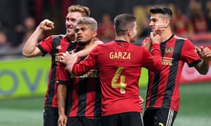 Atlanta United players celebrate as they make their way to their first-ever Conference final.
