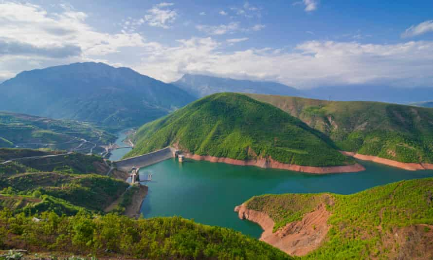Fierza reservoir, Albania formed as a result of the construction of the Fierza Hydroelectric Power Station. <br>