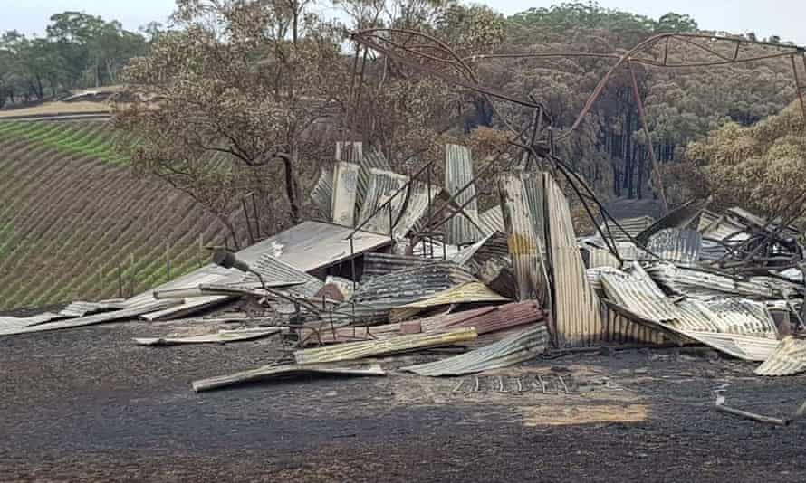 A burnt-out building at the Tilbrook Estate winery in the Adelaide Hills