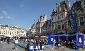 The Ryder Cup fan zone outside the Hotel de Ville in central Paris