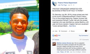 Fresno police department announces the arrest of Justice Medina on Facebook.