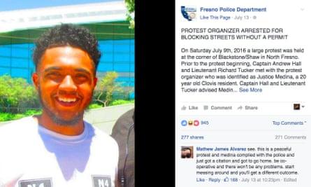 Fresno police department announces the arrest of Justice Medina on Facebook.