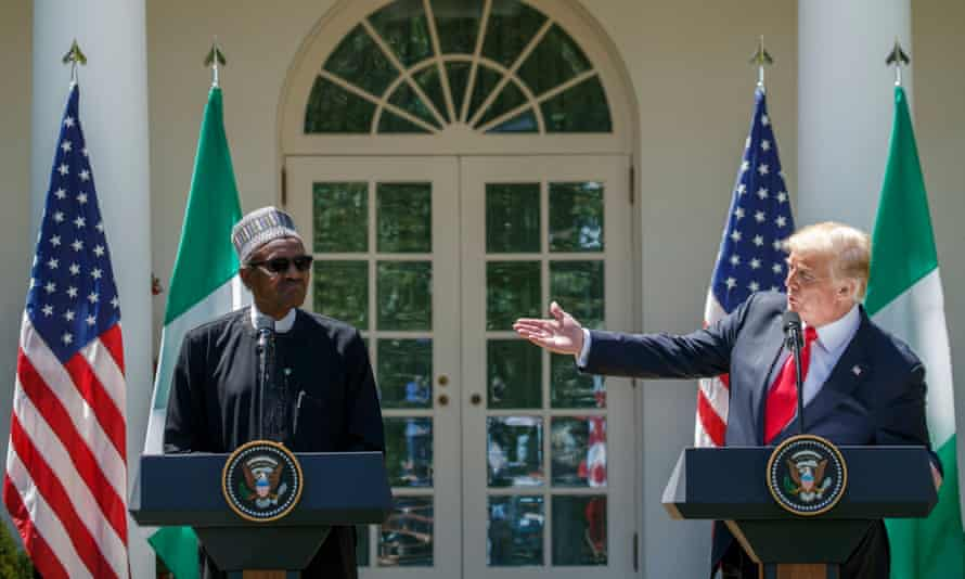 Muhammadu Buhari and Donald Trump at a White House press conference in April