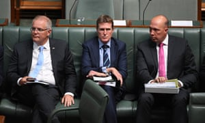 Scott Morrison, Christian Porter and Peter Dutton during a division in parliament last week.