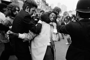 A man is arrested during a riot in Lewisham, 1977.