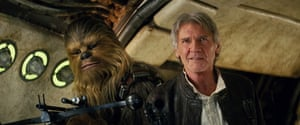 The Force Awakens reunited shipmates Chewbacca (Peter Mayhew) and Han Solo (Harrison Ford).