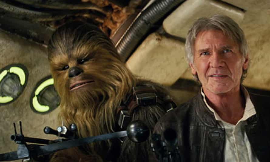 Looking for a new leader … Harrison Ford and Chewbacca in Star Wars: The Force Awakens.