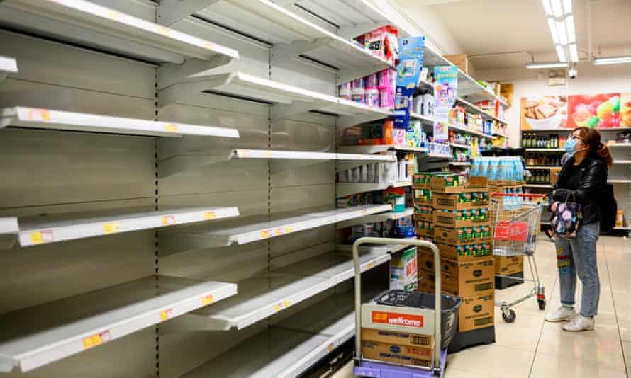Empty supermarket shelves in Hong Kong.