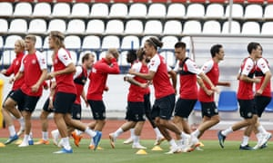 Denmark's players warm up during the team official training at the eve of match between Denmark and Croatia at the 2018 soccer World Cup in Nizhny Novgorod, Russia, Saturday, June 30, 2018.