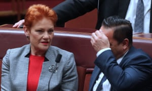 Pauline Hanson and Peter Georgiou as the final sitting day before the winter break gets under way in the Senate.