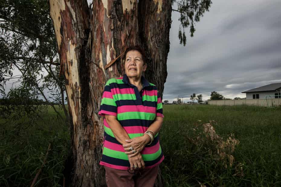 "Jenkins (65yrs) chose to be photographed by one of the gum trees her father planted by Stanley Village also know as Top Camp, which was one of the designated places for Aboriginals to live during the segregation.. She describes Moree as the 'most racist town in Australia.' ""Moree has a big history of racism'."