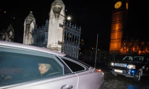 Theresa May departs parliament after the vote on the EU bill on 1 February.