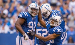 Indianapolis Colts defensive tackle Hassan Ridgeway (91) celebrates with team mates at Lucas Oil Stadium. Trevor Ruszkowski-USA TODAY Sports
