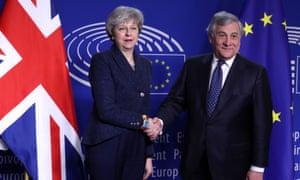Theresa May with Antonio Tajani, president of the European parliament.