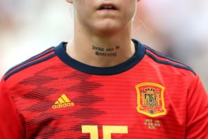 A tattoo on the throat of Maria Leon of Spain which reads 'Looks Can Be Deceiving'. Pictured ahead of a Round Of 16 match between Spain and USA at Stade Auguste Delaune.