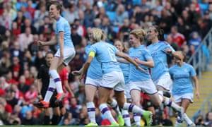Caroline Weir celebrates scoring for City