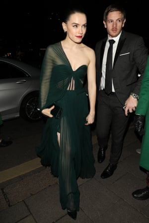 Daisy Ridley arriving at the Vogue x Tiffany Fashion & Film after party