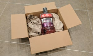 listerine in an amazon delivery box