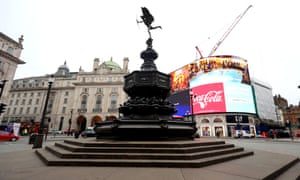 A deserted Piccadilly Circus in London.