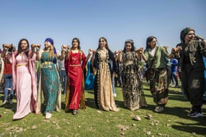 Syrian Kurds gather to celebrate International Women's Day in the Kurdish-run province of Hasakeh