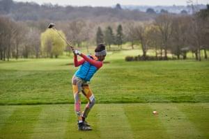 Stella tees off the 12th at Hadley Wood Golf Club in London