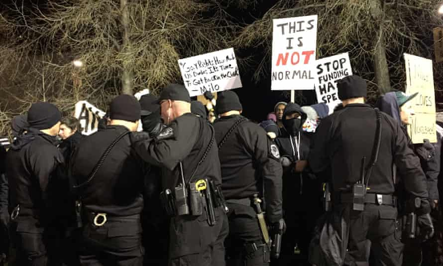 Police and protesters at CU Boulder.