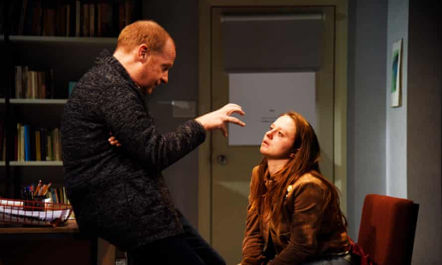 'He keeps jumping into her mouth' … Jonathan Slinger as John and Rosie Sheehy as Carol in Oleanna, directed by Lucy Bailey.