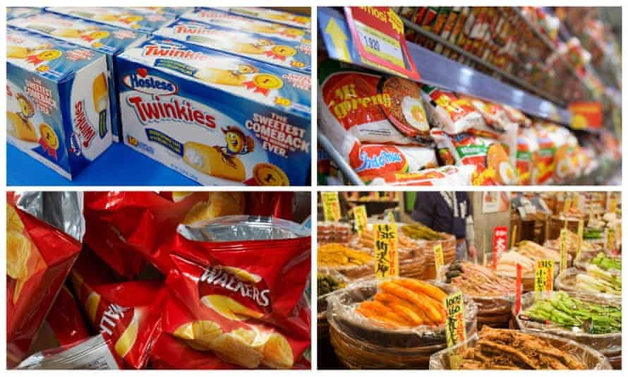 Composite image of Twinkies cakes in a store in California, fried noodles in Indonesia, salted crisps, and pickles in Japan