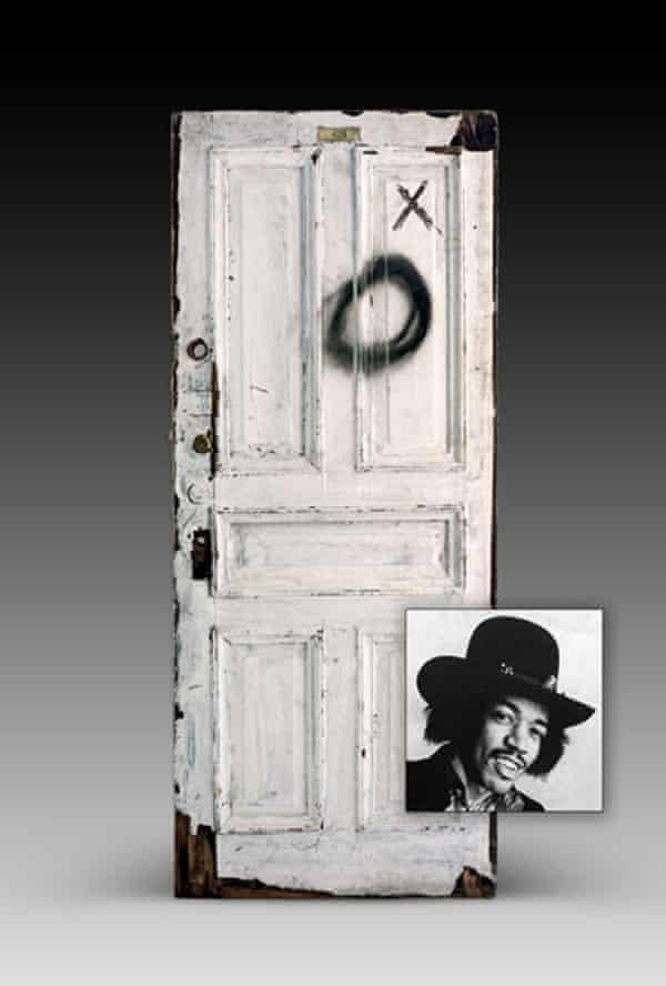 The hotel room door of Jimi Hendrix, who often stayed at the Chelsea Hotel in the 1960s.
