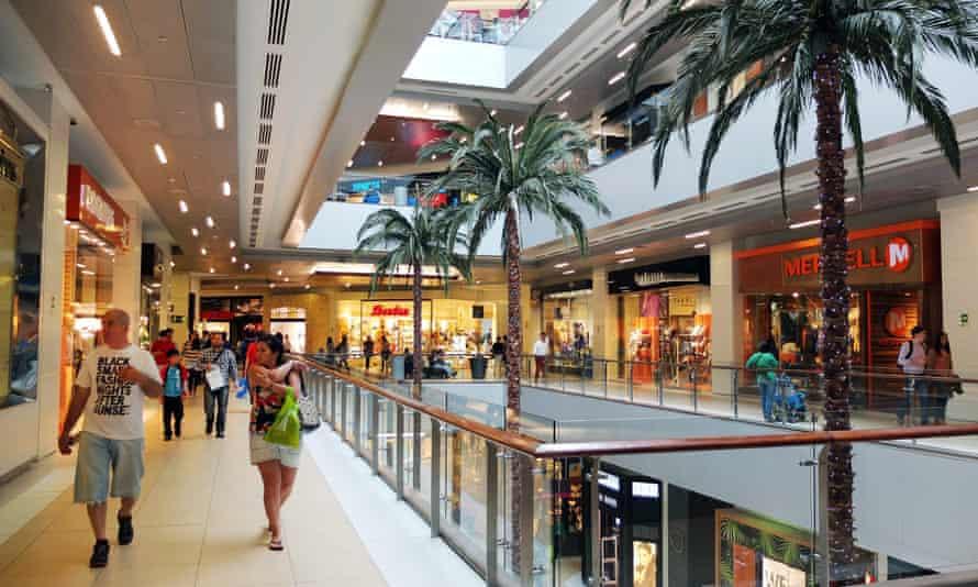 Inside the Costanera Center shopping mall, Santiago de Chile.