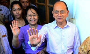 Myanmar President Thein Sein and his wife Khin Khin Win after casting their votes at a poll station in Naypyitaw.