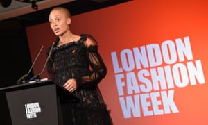The model Adwoa Aboah speaks at the start of London fashion week