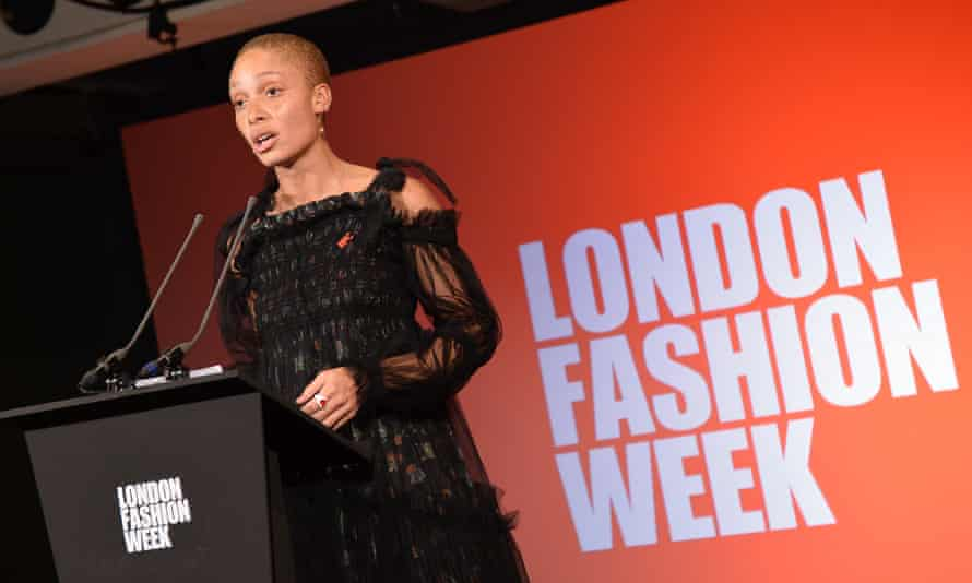 The model Adwoa Aboah speaks at the start of London fashion week