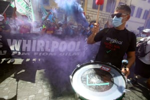 Rome, Italy. Whirpool workers demonstrate during a strike to protest against the closure of the Naples plant