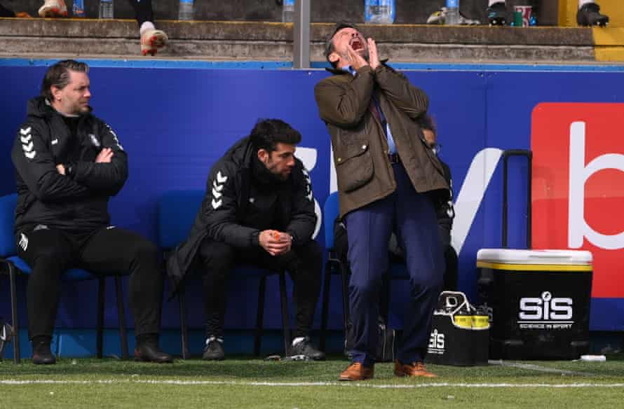 Southend manager Phil Brown reacts on the touchline as his side win in Barrow but drop out of the league regardless