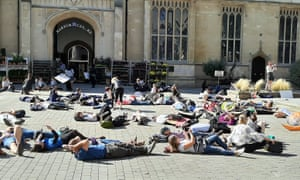 Die-in at climate strike in Harpur Square in Bedford town centre
