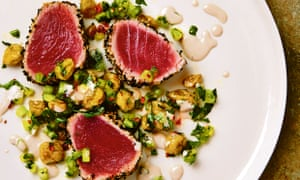 Yotam Ottolenghi's seared tuna with dried gooseberry salsa and anchovy sauce