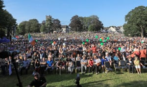 Supporters gather for Shane Lowry's  homecoming event at Clara GAA.