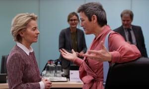 EU Commission President Ursula Von der Leyen (L) and EU Commission Vice-President of the European Commission for a Europe Fit for the Digital Age, Margrethe Vestager (R) in Brussels, Belgium, 19 February 2020.