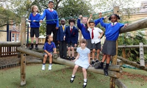 Children in the playground at Trinity St Mary's Church of England primary school in Wandsworth, south London.
