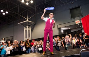 Founder and host RuPaul encourages attendees to vote