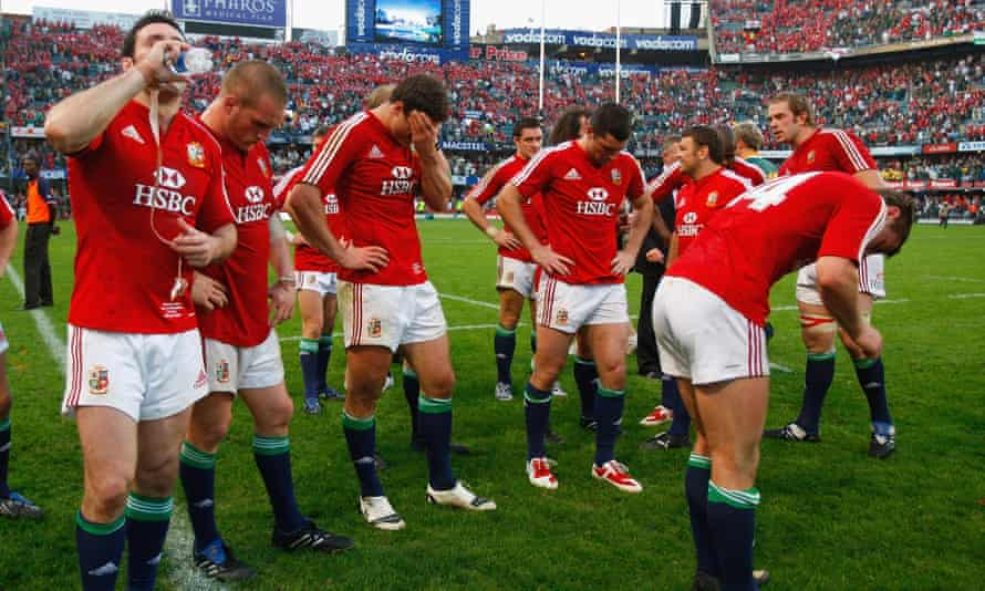 The Lions players look on dejectedly after the first Test defeat to South Africa in Durban in 2009.