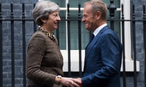 Donald Tusk in Downing Street with Theresa May.
