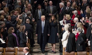 President Donald Trump, accompanied by first lady Melania Trump, opened his first full day as president at a national prayer service at the National Cathedral in Washington in January 2017