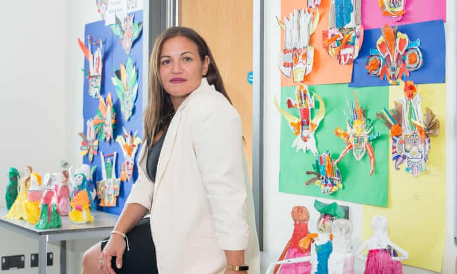Andria Zafirakou photographed at Alperton community school in Brent, north-west London, 2018.