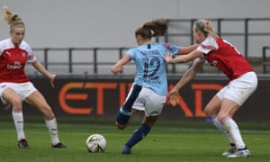Georgia Stanway on her way to making it 2-0 for Manchester City against Arsenal as the home side closed the gap at the top of the Women's Super League.