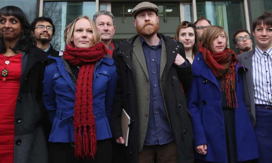 Members of the 13-strong Plane Stupid group before the start of the trial
