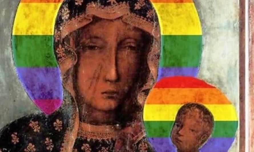 A picture of the Virgin Mary with a rainbow halo